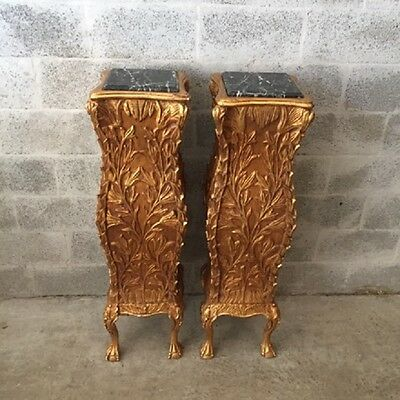 Unqiue Set Of Two Pillars In Gold And Marble Top