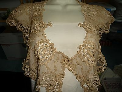#425 ANTIQUE vtg dress collar ECRU French NET LACE cut embroidered  WOW