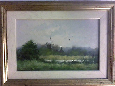 Original James Wright oil painting of a Mill on the River Yare, Norfolk Broads