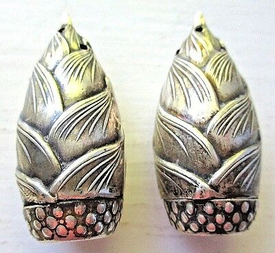 Pair of Small 950 Japan STERLING SILVER  Mid Century Salt & Pepper Shakers CORN