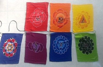 XL Chakra Flags/Banner - Meditation Prayer Flags - Extra Large - 2 metres