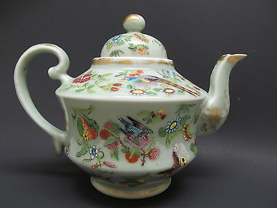 Antique 1850's Chinese Porcelain Celadon Sacred Bird Flower & Butterfly Teapot