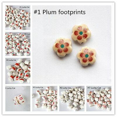 10pcs Lucky Cat And Footprint Pattern Porcelain Loose Beads Jewellery Making