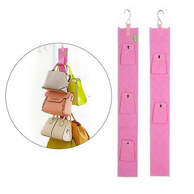 5 Hook Handbag Bag Purse Holder Shelf Hanger Rack Storage Organizer door Pink DD