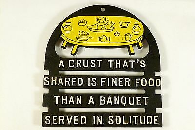 Vintage Decorative Kitchen Trivet Wall Hanging shared food friends Phrase Quote