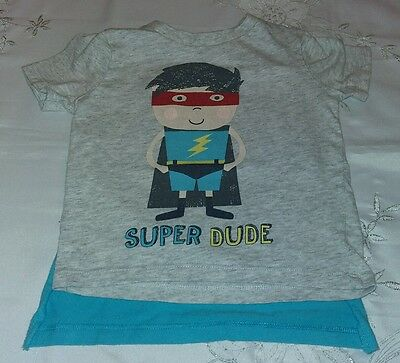 F&F Tesco Super Dude T-Shirt & Cape 6-9 Months New without Tags