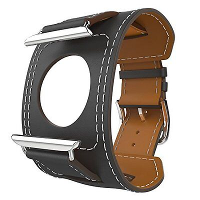Genuine Leather Smart Cuff Strap Wrist Band Grey 42mm for Apple Watch Series 2 1