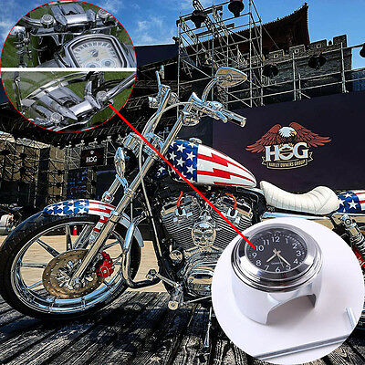 Waterproof Dustproof Motorcycle Handlebar Watch Black Chrome Dial Clock
