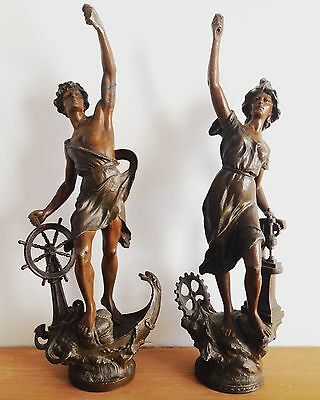 Pair Of Stunning Large Victorian Bronzed Spelter Figures 56cm Tall