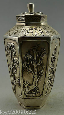 Collectible Decor Old Handwork Silver Plate Copper Carved Bamboo Flower Pot Jars