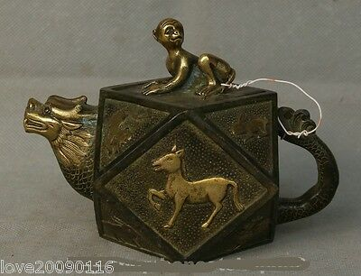 Collectible Decorated Old Handwork Bronze Carve 12 Zodiac Animals Dragon Tea pot