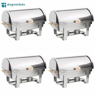 4 PACK Catering Stainless Steel DELUXE Chafer Chafing Dish Sets 8 QT Full Size
