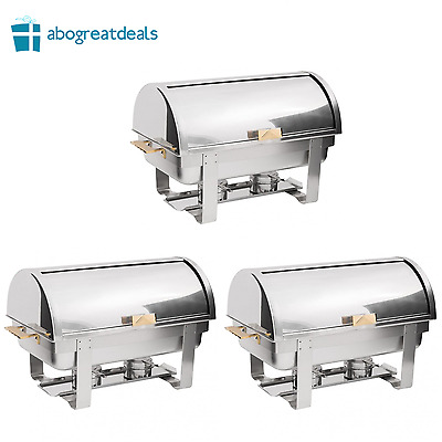 3 PACK Catering Stainless Steel DELUXE Chafer Chafing Dish Sets 8 QT Full Size