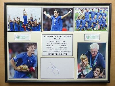 2006 Italy World Cup Winners Display Signed by Marcello Lippi (10558)
