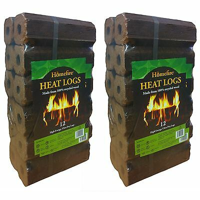 Homefire High Energy Ultra Dry Heat Logs Eco Wood Open Fire Log Fuel Pack of 24