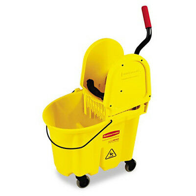 Rubbermaid WaveBrake 35 Qt. Bucket/Wringer Combination (Yellow) 757788YW NEW