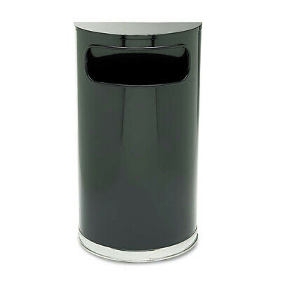 Rubbermaid 9 Gal. European/Metallic Half-Round Receptacle (Black) SO820BPL NEW