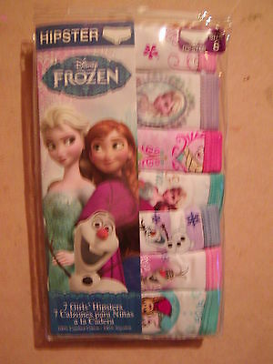 Pack of 7 Disney Girls Size 8 Frozen Elsa Anna Olaf 100% Cotton Hipster Panty