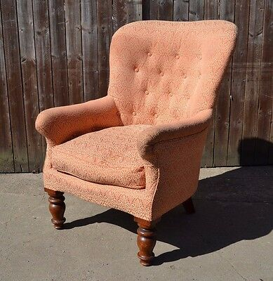 Lovely Antique Buttoned Armchair Dusky Pink Victorian Fireside Chair Upholstery