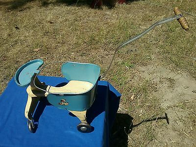 Antique vintage TURNER baby doll Tot metal pram stroller carriage  pressed steel