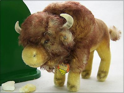 STEIFF old 6,69 inch standing BISON with ID BUTTON & TAG * altes 17 cm BISON