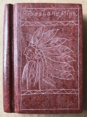 CARVED PIPESTONE BOOK w ENGRAVED SIOUX INDIAN CHIEF ~ PIPESTONE, MINN. ANTIQUE