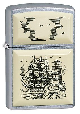 Zippo SCRIMSHAW SHIP Pocket Lighter WindProof New With Box