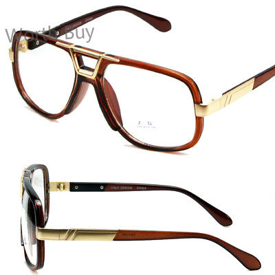 New Brown Gold DMC Square Gazelle Style Clear Lens Frame Glasses Fashion Retro