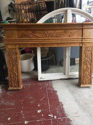 Vintage Antique Victorian Fireplace Mantel Carved Wood Rococo Ribbon And Wheat