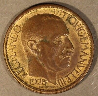 1928 Italy 2 Lire Mussolini Bronze Coin Pattern        ** FREE U.S. SHIPPING **