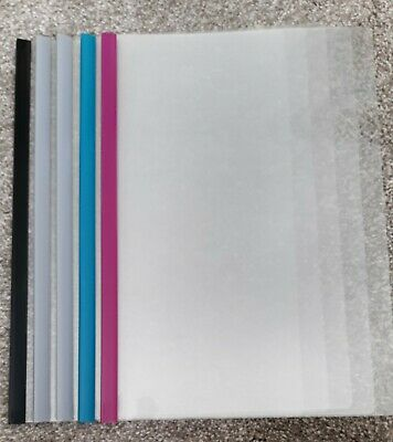 5 X A4 SLIDE BINDERS/ SPINE BARS FOR BINDING PAPER GREEN .30 sheets cap.
