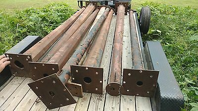 Lot of 8 Gas and Oil Vintage Sign Mounting Steel 12' Poles PURE