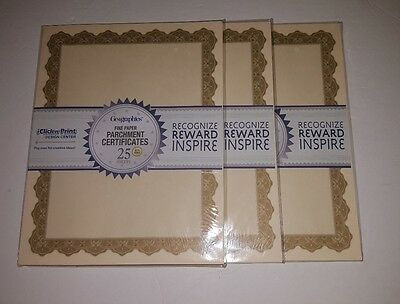 Geographics Fine Paper Parchment Certificates 75 sheets Optima Gold with Seals