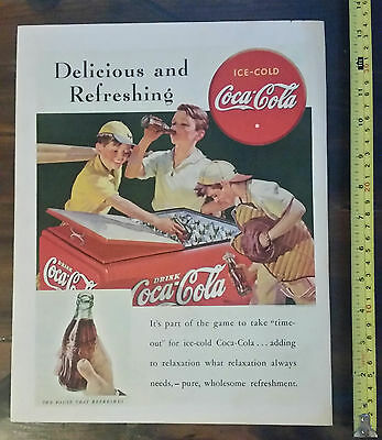 Vintage Coca Cola Coke Magazine Ad Advertisement - 1938 Sep Baseball