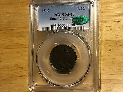 1806 HALF CENT Penny PCGS XF40 CAC SMALL 6 NO STEMS FREE SHIPPING! VERY NICE!WOW