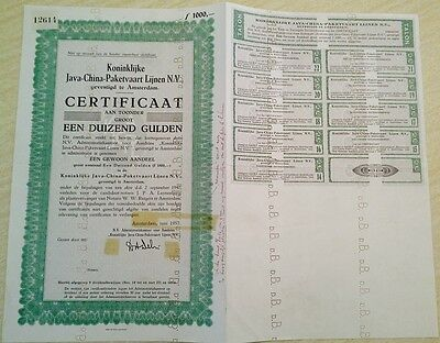 China Netherlands 1957 Amsterdam Java 1000 Groot Coupons UNC Bond VERY RARE FC