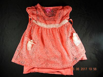 Pinky Toddler Girl Coral Shirt w/ cami attached 2T