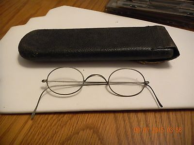 Vintage Ben Franklin Style Glasses Metal Wire Rims With Case