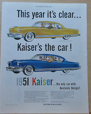 1950 magazine ad for Kaiser - 1951 DeLuxe Club Coupe & Sedan, Anatomic Design
