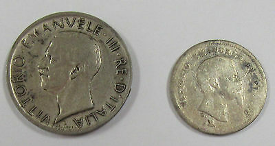 Lot of 2 Italy Coins- 1860 50 Centesimi and 1927 R 5 Lire * Old Italy Coins