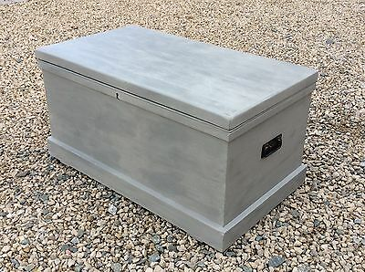 Large Antique Painted Pine Chest Vintage Trunk COFFEE TABLE Blanket Toy Box
