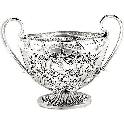 ANTIQUE VICTORIAN STERLING SILVER 2 HANDLE BOWL - 1898 - 319g ARMORIAL CREST