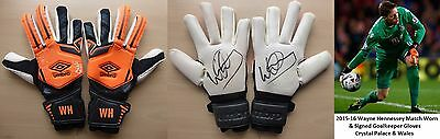2015-16 Wayne Hennessey Match Worn & Signed Crystal Palace Wales Gloves (10537)