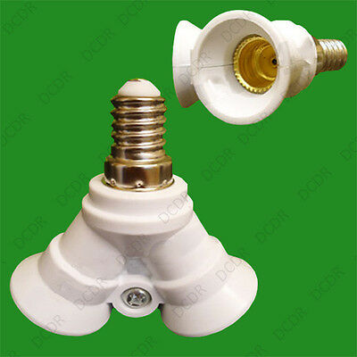 1x E14 to 2x E14 Light Bulb Holder Adaptor Doubler Socket Splitter