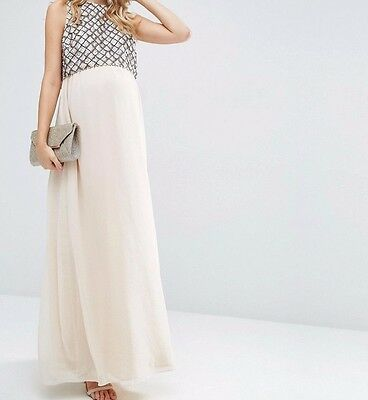 BRANDED Maternity Embellished Maxi Dress with Crop Top Nude UK 10/EU 38/US 6