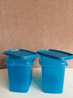 New Tupperware Spice Saver with spoon - set of 2 blue rectangular container