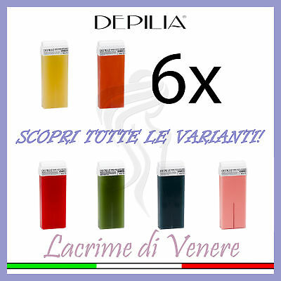 Depilia 6 Ricariche Rullo Cera Depilatoria Cartuccia Roll-On Ceretta 100 Ml Rull