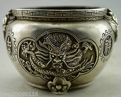 Collectible Decorated Old Handwork Miao Silver Carved Dragon Phoenix Pot