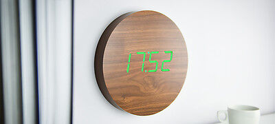 Gingko Electronics: Walnut Wall Click Clock - Green LED
