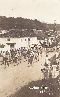 RP: US Army band Leading Parade, Guam Fair, 1921